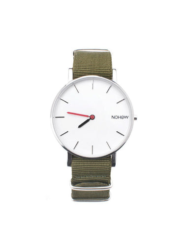 White Pure watch green fabric strap nohow