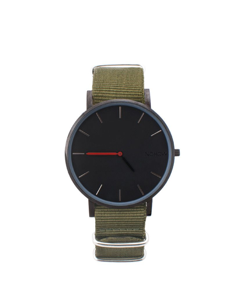 Black Pure watch green fabric strap nohow