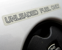 """Unleaded fuel only"" decal for fuel doors, Datsun 280Z"