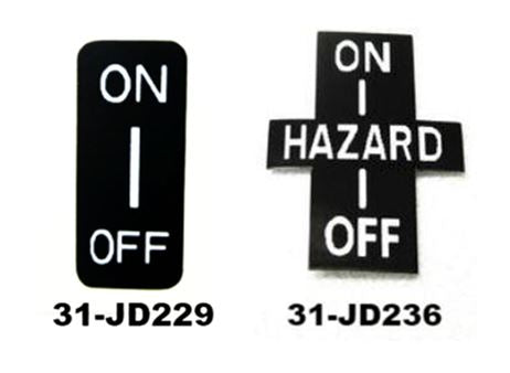 Hazard switch decal for Datsun 240Z