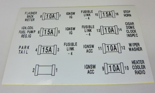 fuse box lid decal for skyline (hakosuka) early type, jdm car 2000 Lincoln Town Car Fuse Chart  1990 Lincoln Town Car Fuse Box 1997 Lincoln Town Car Fuse Box Diagram Pop Up Camper Fuse Box