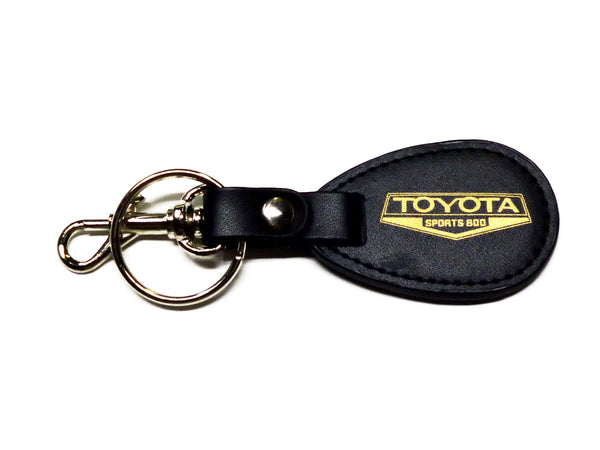 Toyota Sports 800 black leather key with gold emblem fob / key ring / key chain