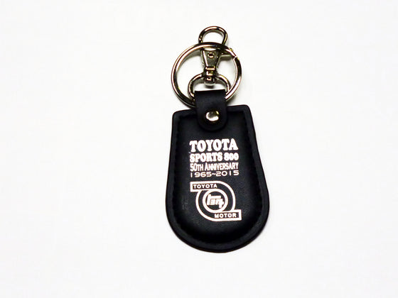 Toyota Sports 800 50th Anniversary black leather key fob / key ring / key chain