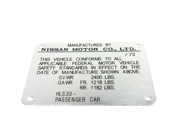 Door Jamb ID Plate for Early 1972 Datsun 240Z