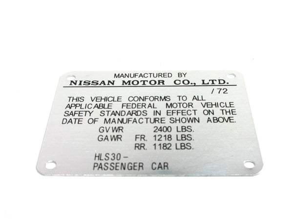 Door jamb I.D. plate for early 1972 Datsun 240Z