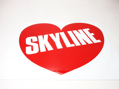 """Skyline"" Large Heart shape decal for Nissan Skyline cars"