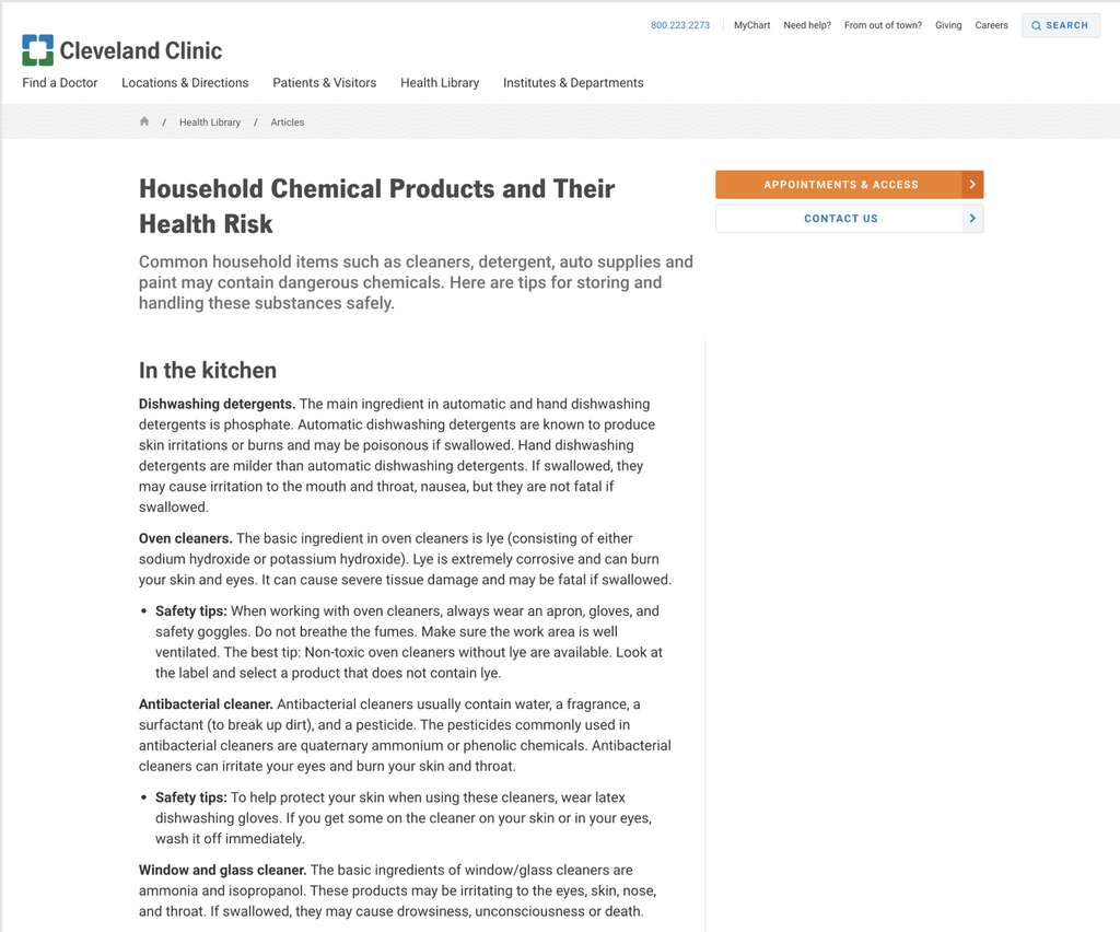 Household Chemical Products and Their Health Risk - Cleveland Clinic