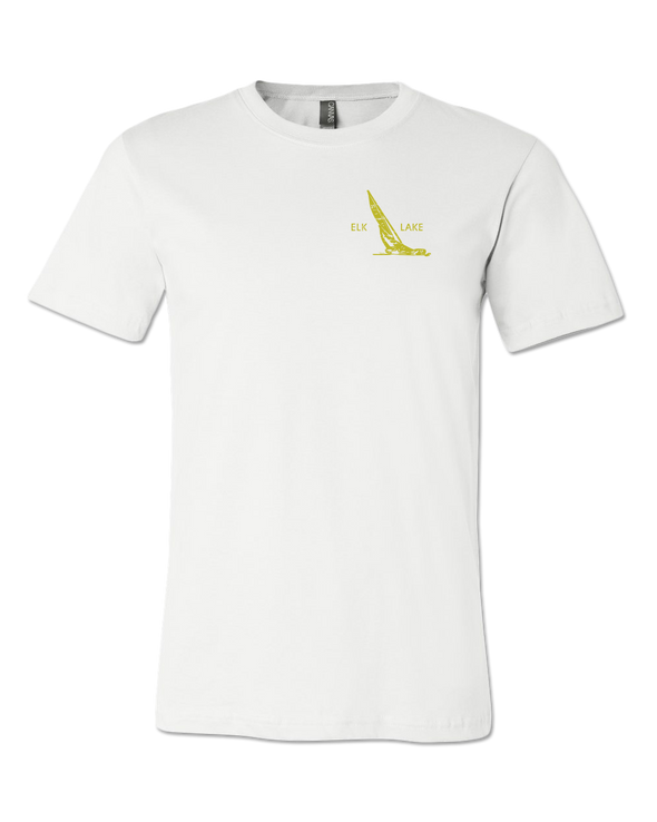 White Birch Lodge Golden Sailboat Premium Unisex T-Shirt