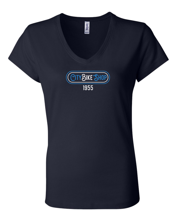 City Bike Shop Retro Women's V-Neck T-Shirt