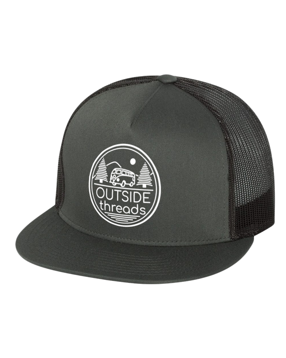 Outside Threads Logo on Classic Flat Bill Trucker Cap