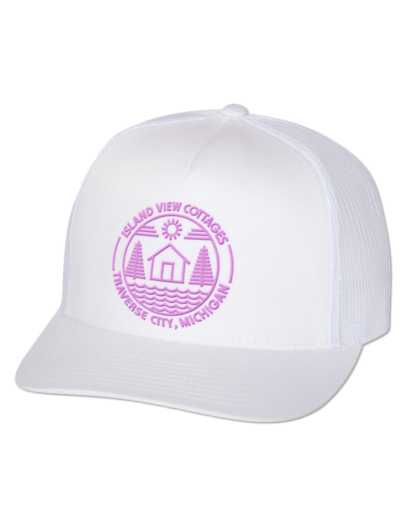 Island View Cottages Pink Logo Embroidered Classic Flat Bill Trucker Cap