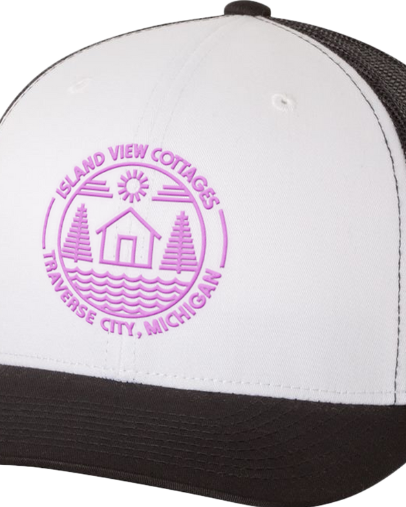 Island View Cottages Pink Logo Embroidered Retro Trucker Cap