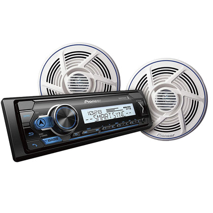 Power MVH-MS310BT Marine Stereo w/AM/FM/BT  Pair Nautica Marine Series 8