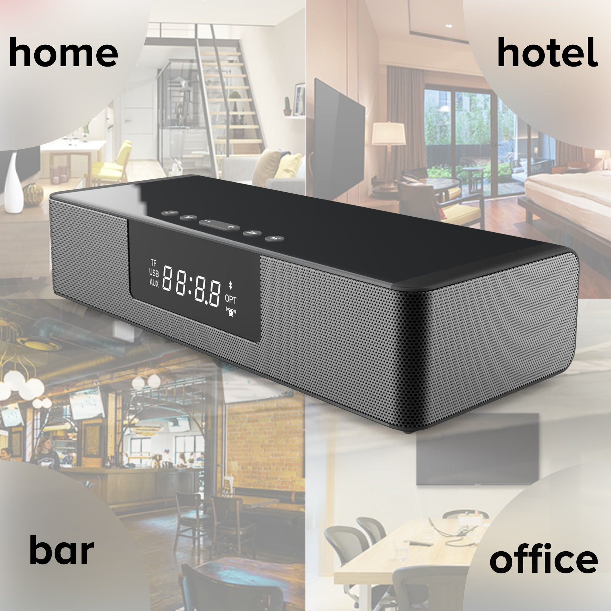 Stylish Bluetooth Soundbar with Wireless Charging
