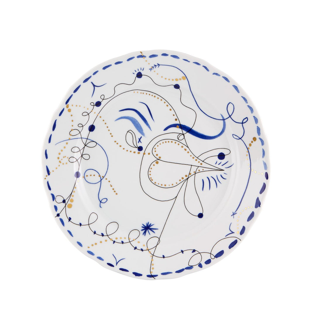 Folkifunki - Dinner Plate Blue  Chicken