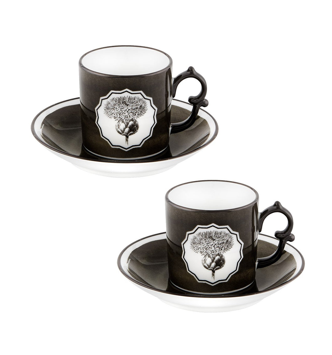 Herbariae - Set 2 Coffee Cups And Saucer Black