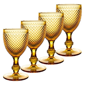 Bicos - Set Of 4 Water Goblets Amber