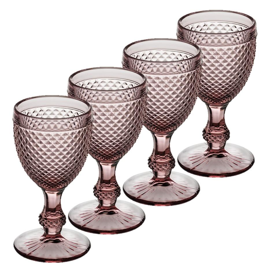 Bicos - Set Of 4 Water Goblets Pink