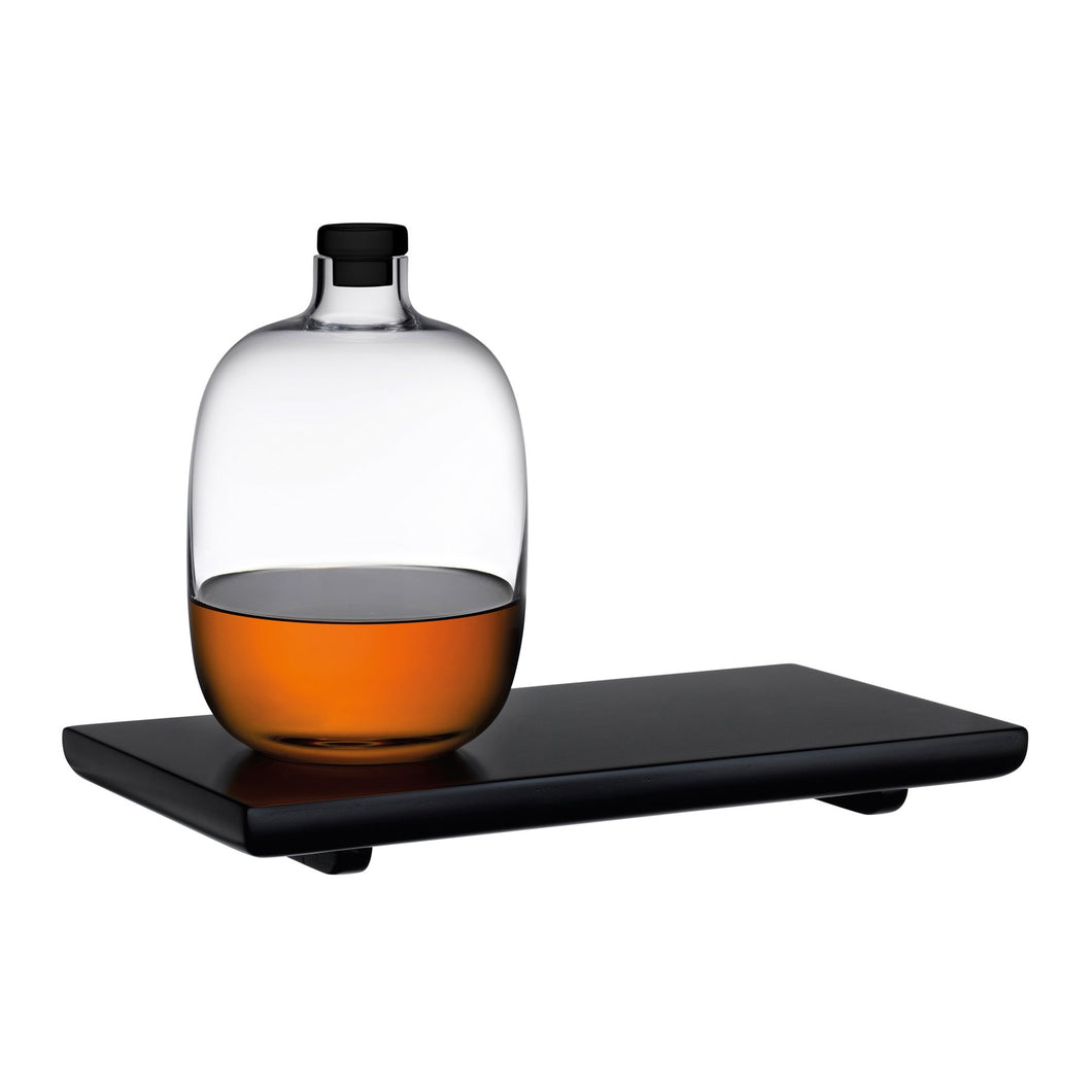 Malt Whiskey Bottle with Wooden Tray