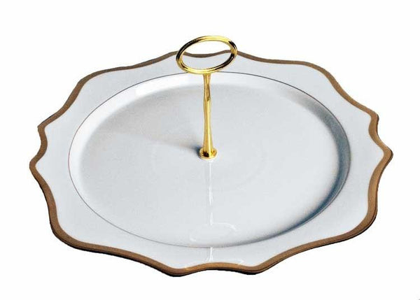 Antigue White with Gold Charger Plate Tray