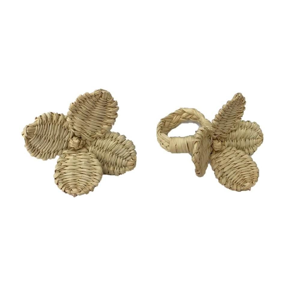 Flowers Napkin Rings Sand - (Set of 4)