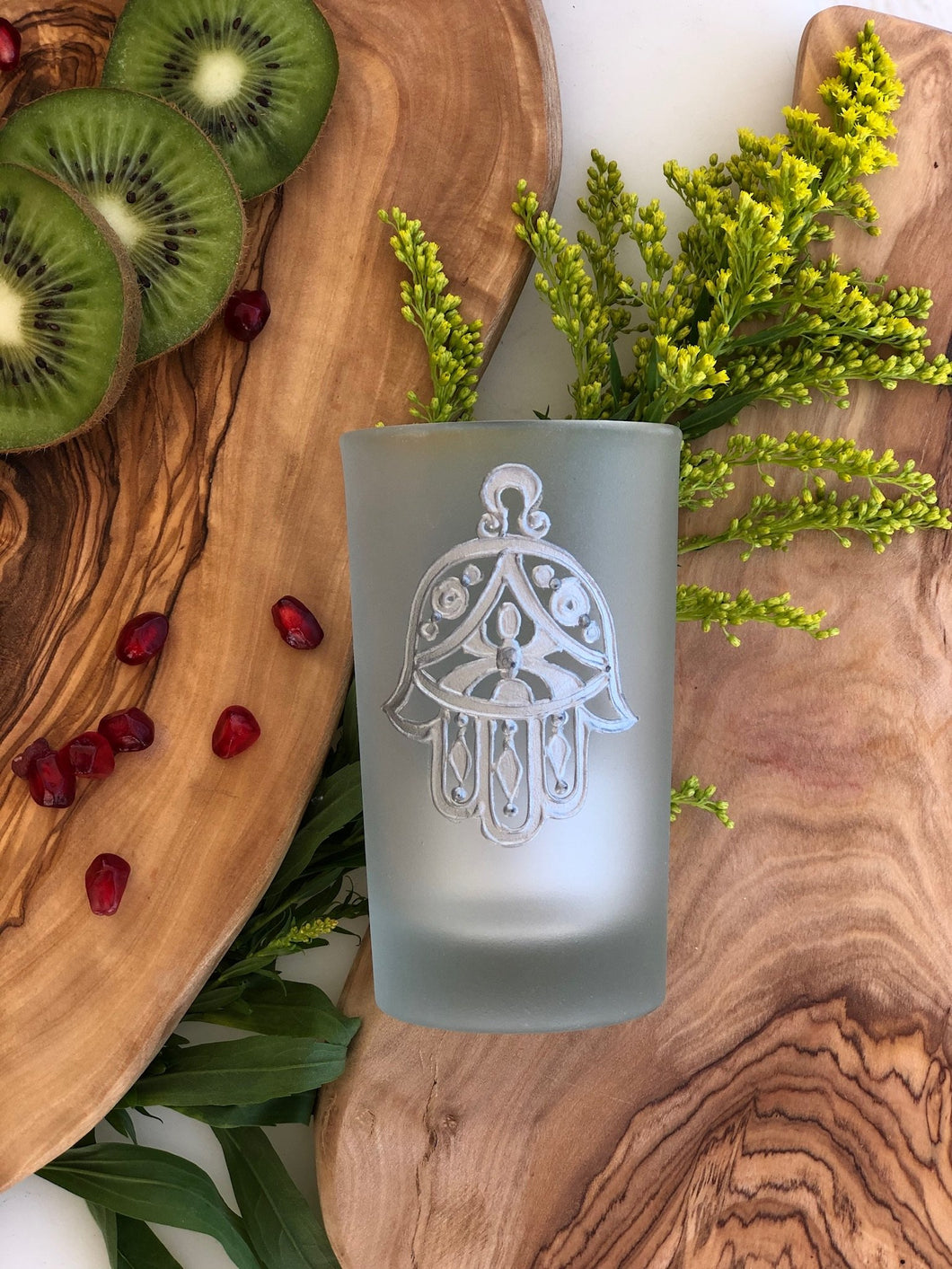 Hand Painted Hamsa Tea Glass - Silver (Set of 6)