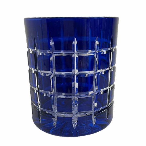 Whiskey Glass Checkered Blue