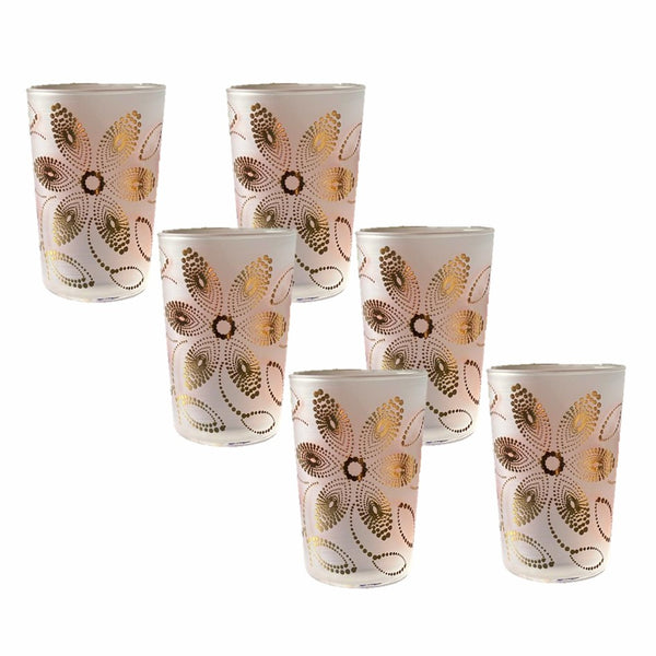 Tea Glasses Frosted Clear Gold Flower - (Set of 6)