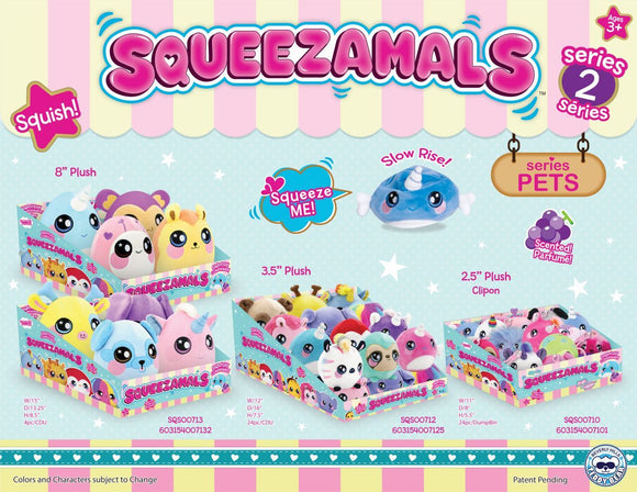 Squeezamals 8 inch -Series 2-Assortment A - 4 Units Per Case