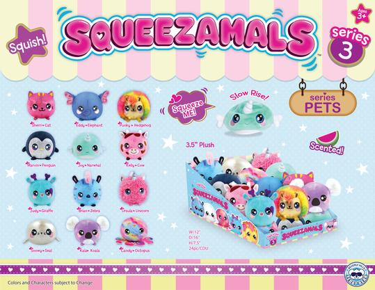 Squeezamals Pets 3.5 inch Assortment Series 3 - 24 Units Per Case