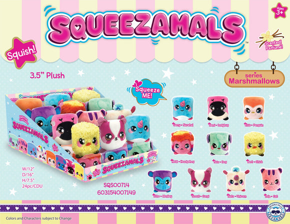 Squeezamals Marshmallow 3.5 inch - 18 Units Per Case