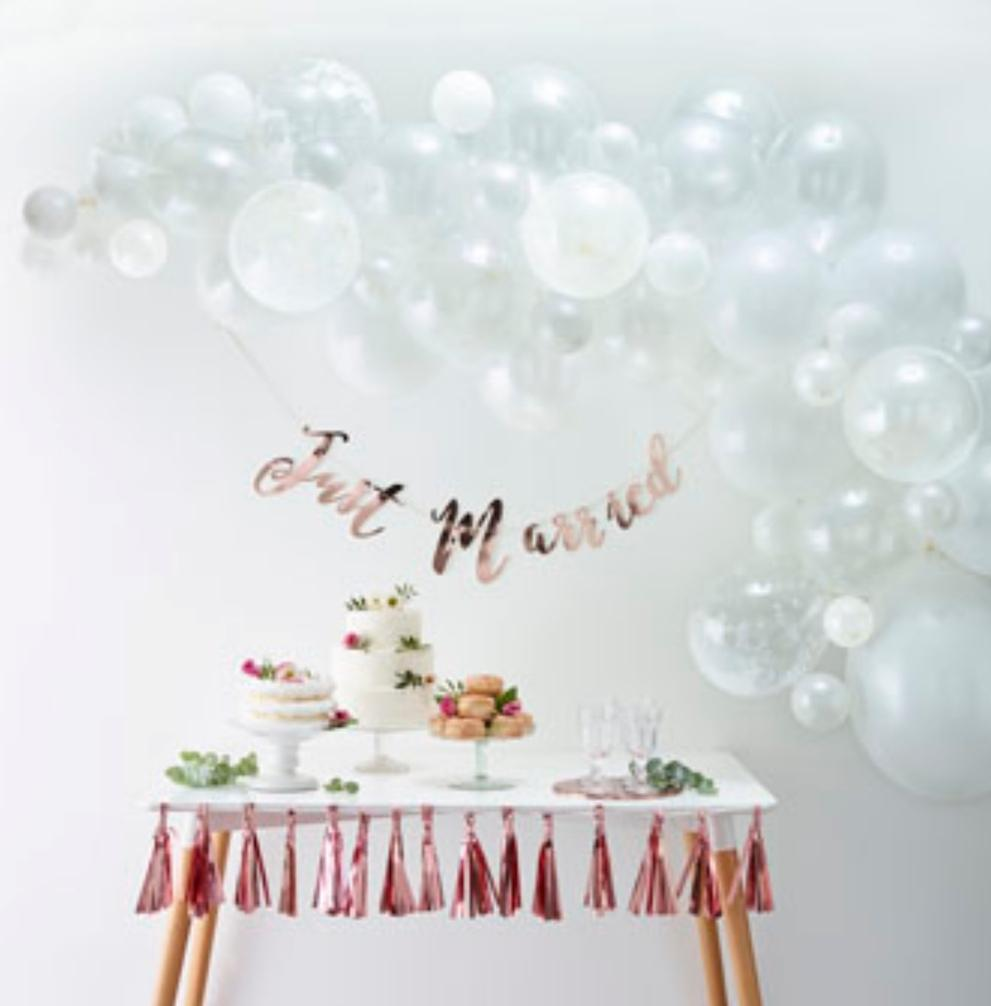Balloon Arches - White Balloon Arch Kit - Lilly and Bee