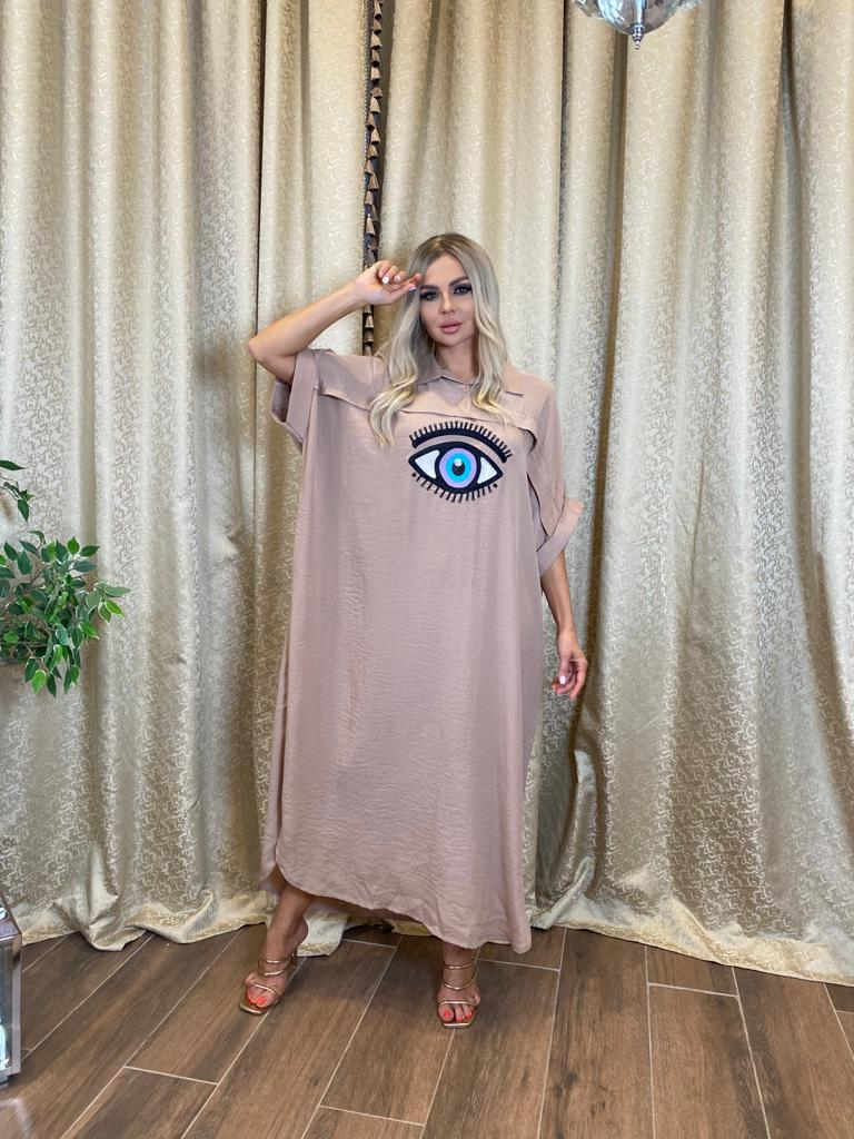 RAGLAN SLEEVE EYE EMBROIDERED SHIRT DRESS (dark beige)