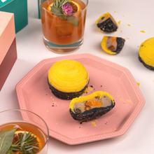 Load image into Gallery viewer, Baked Yam Mooncakes with Salted Egg & Pistachio Nuts, and cocktail Moonlighter