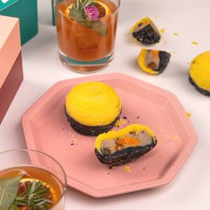 Baked Yam Mooncakes with Salted Egg & Pistachio Nuts, and cocktail Moonlighter