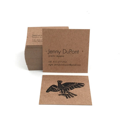 "2.5"" Square Recycled Business Cards Brown Kraft"