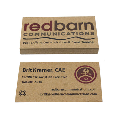 Recycled Business Cards -Red and Brown Ink on Brown Kraft