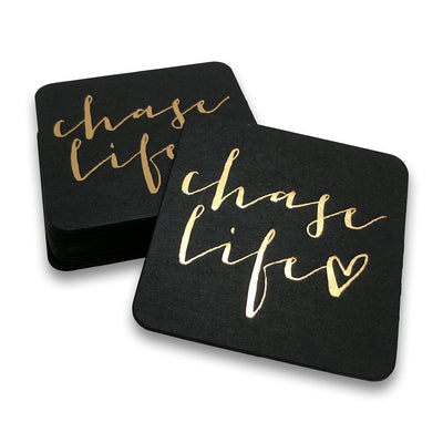 Custom Chaselife Foil Stamped Coasters