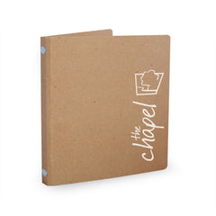 "Custom Printed 1/2"" ReBinder Select Recycled Binders - White on Brown Kraft, Standout"
