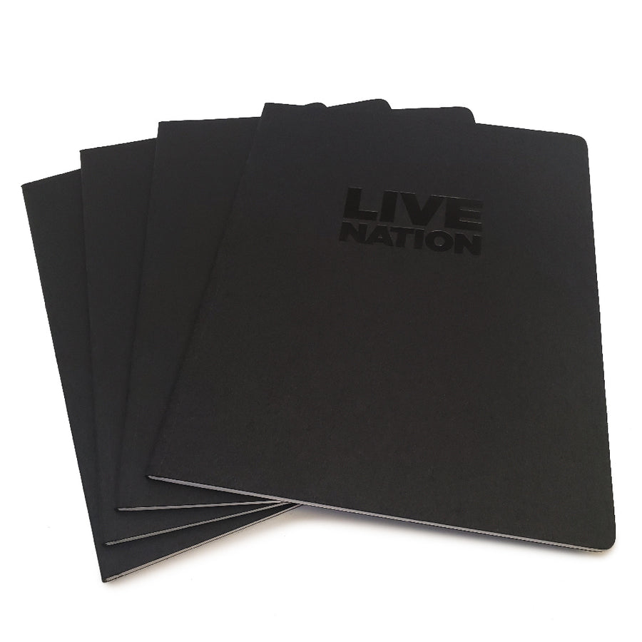 "Foil Stamped Black Recycled Notebook - 8"" x 10"""