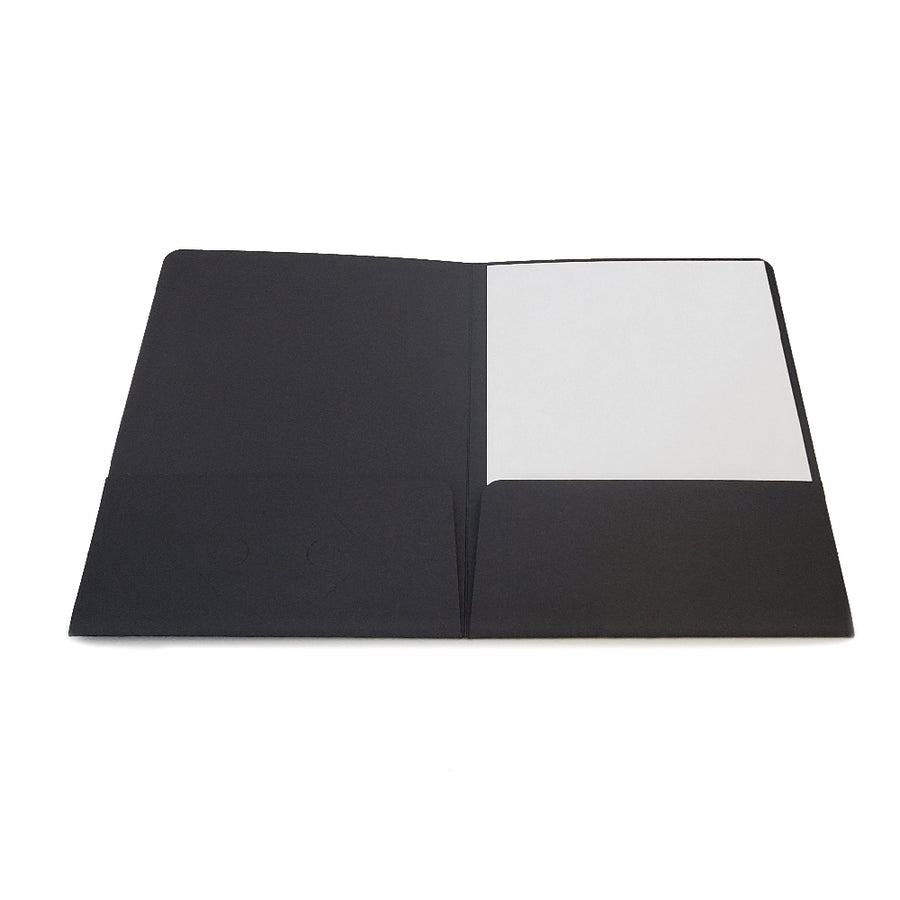 Custom Printed Black Chipboard Presentation Folder Front