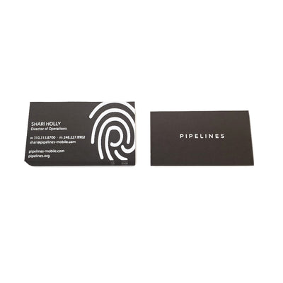 Custom Foil Stamped Black Business Cards Front and Back