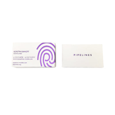 Custom Foil Stamped White Business Cards Front and Back