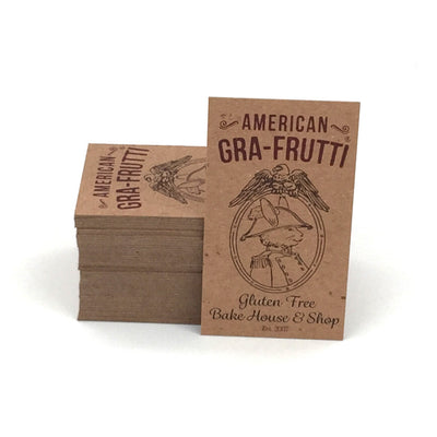 Thick Recycled Business Cards - Recycled Brown Kraft