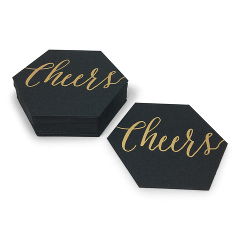 Black Custom Foil Stamped Hexagon Coasters