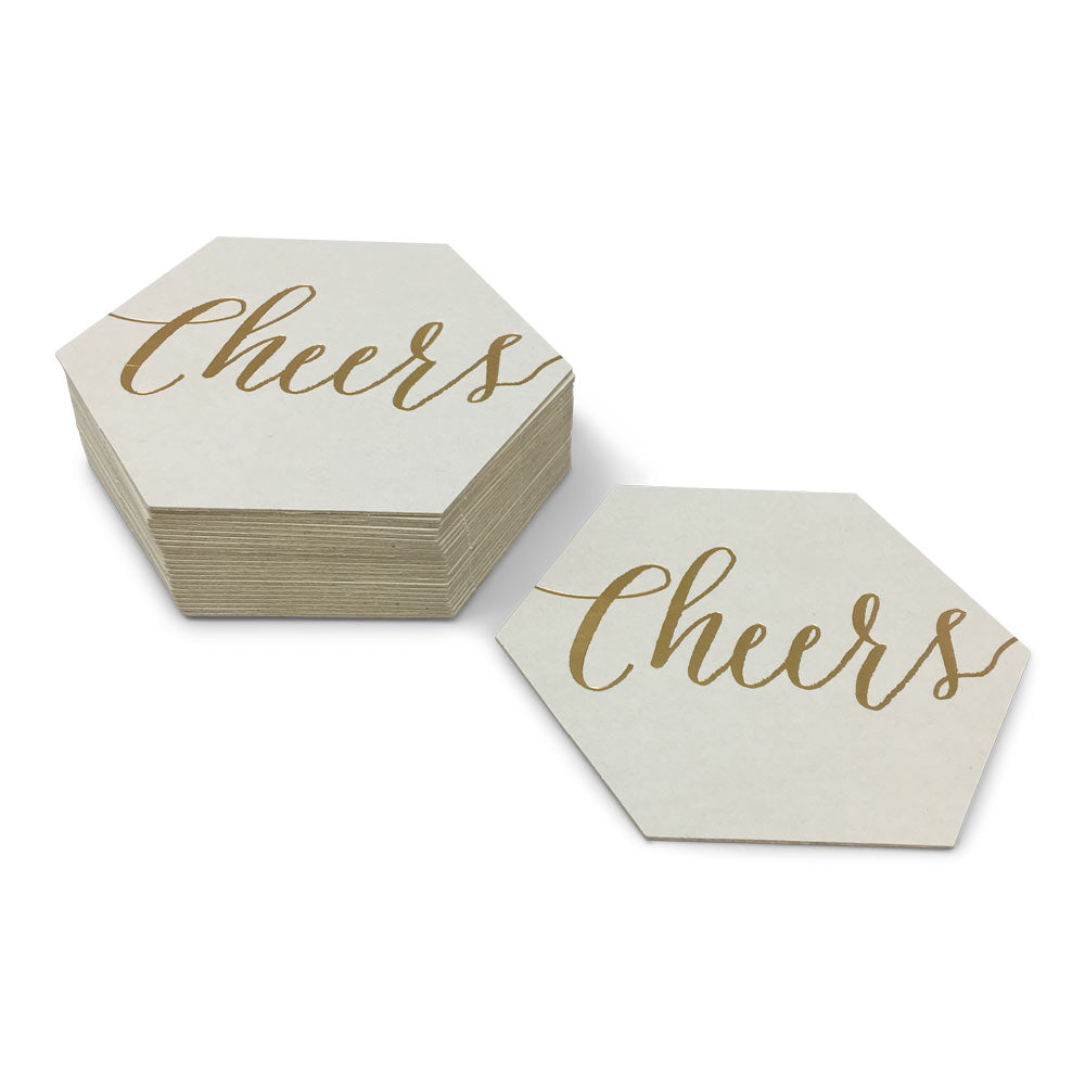 Natural White Custom Foil Stamped Hexagon Coasters - Guided.com