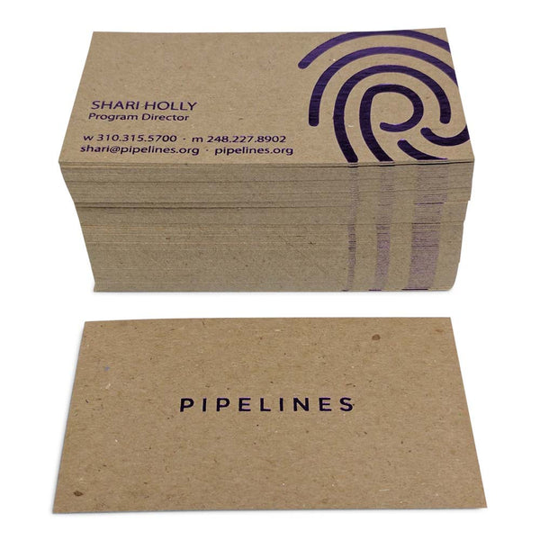 Pipelines Foil Stamped Recycled Business Cards