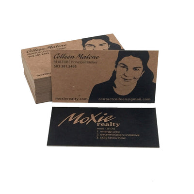 Recycled Business Cards Black Flood - 20pt Recycled Brown Kraft
