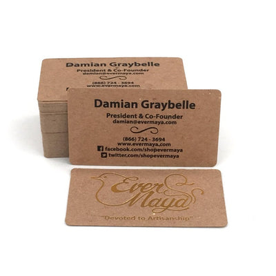 Letterpress Business Cards with Foil Stamp - Rounded Corners, Brown Kraft