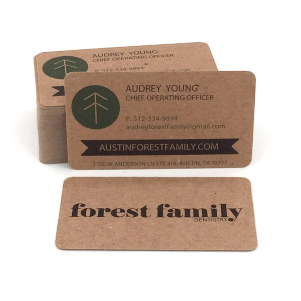 Rounded Corner Business Cards - Brown Kraft. Front/Back Print